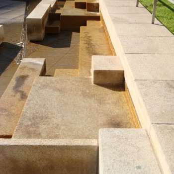 Gobi Tan Granite Blocks Gathered Waiting for Gathering of People - Fountain Courtyard