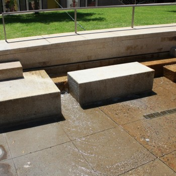 Gobi Tan Granite Blocks in Fountain Courtyard