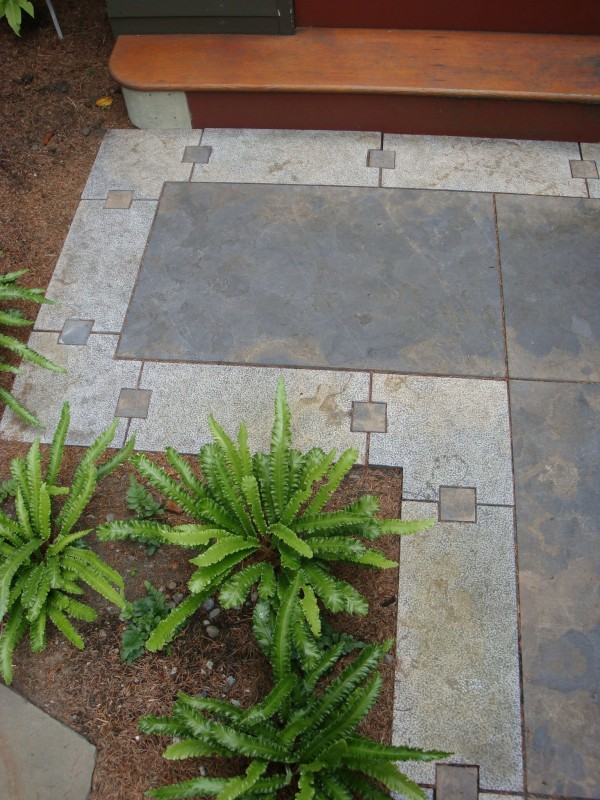 Rusty Caviar Blue Limestone pavers and pathway with honed and lychee finishes