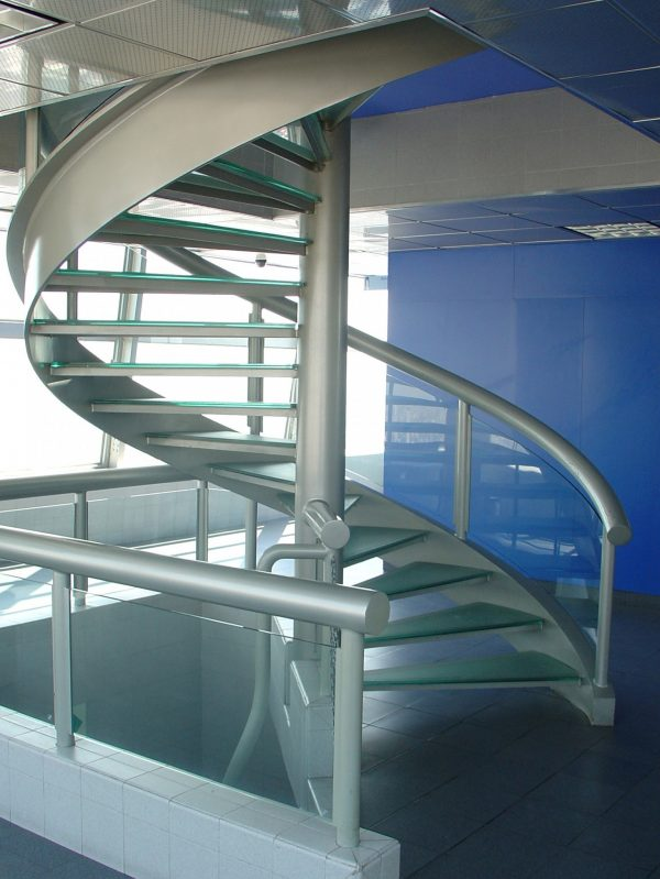 Steel Staircase with Glass Stairs - HDG Building Materials