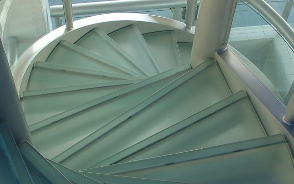 circular stairs with glass treads - textured glass pavers - HDG Building Materials