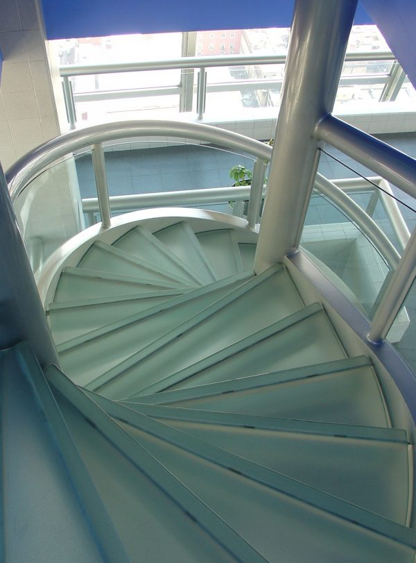 glass stairs with textured glass treads - HDG Building Materials