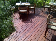 Buzon Pedestals and Massaranduba Hardwood Decking in Outdoor Dining Application