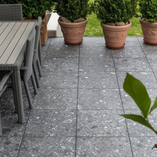 Straight Lines on Patio with HDG PIETRA Sierra Smoke Porcelain Tile - HDG Building Material