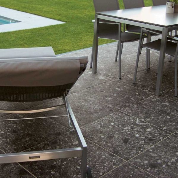 Patio with HDG PIETRA Sierra Smoke Porcelain Tile - HDG Building Material