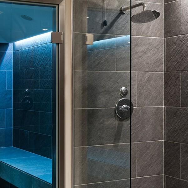 HDG Sierra Black Porcelain Tile in Wet Room - HDG Building Materials