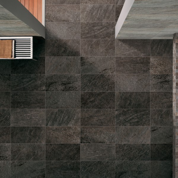 HDG Black Sierra Porcelain Tile in Wellness Center - HDG Building Materials