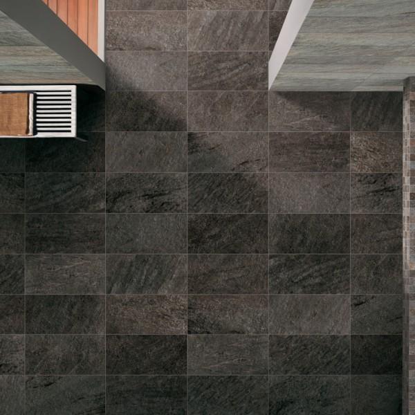 HDG Black Sierra Porcelain Tile in Wellness Center - HDG Building Materials