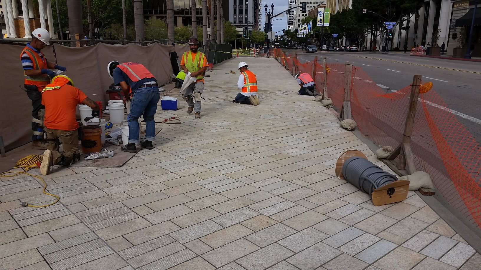Granite Pavers on Public Sidewalk Promenade at Horton Plaza Park in San Diego - HDG Building Materials