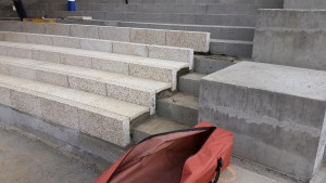 image of Tiger Yellow Granite Natural Stone Stairs on a Radius at Horton Plaza San Diego - HDG Building Materials