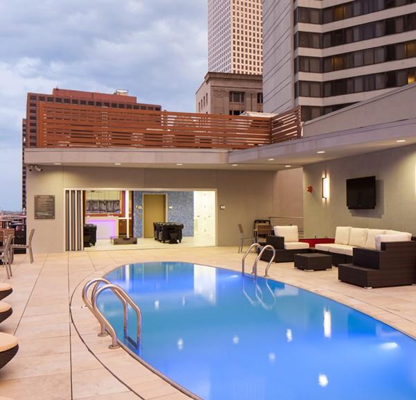 Canal Street Rooftop Pool Terrace 4 - Buzon Pedestals + Porcelain Pavers