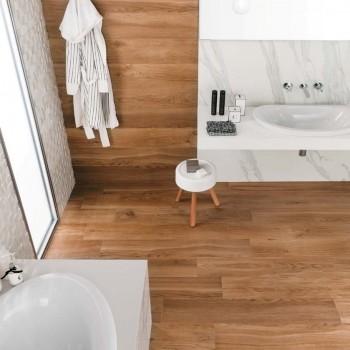 HDG South Havana Rich Medium Brown Porcelain Paver 30x120 cm Planks in Bathroom Application