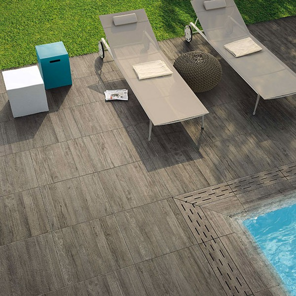 HDG Vintage Grey Porcelain Pavers in Pool Decking Surround Application