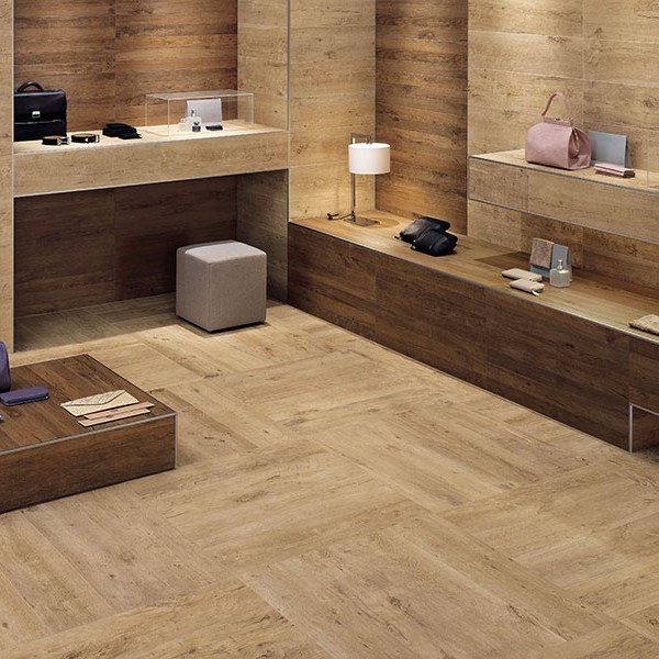 Vintage Oak Porcelain Pavers in Store Application