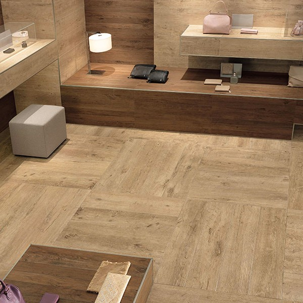 Vintage Oak Porcelain Paver in Retail Design