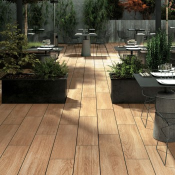 Legno HDG South Havana Brown Porcelain Paver in Outdoor Dining Application