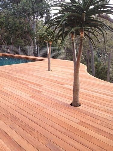 True Genuine Mahogany Decking Application - HDG Building Materials