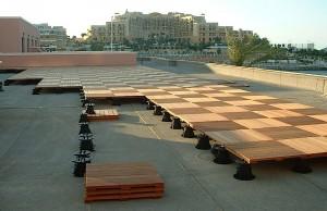 Buzon Pedestals with Hardwood Tiles - HDG Building Materials