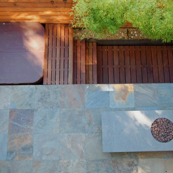 Seattle Oasis with Ipe decking + Slate Architectural Stone Patio + Buzon Pedestals - HDG Building Materials