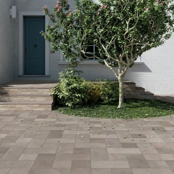 Courtyard and Entrance Design wtih HDG Pietra Pavero Ash Porcelain Pavers EP05 - HDG Building Materials