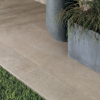HDG Cedrone Beige Tan Porcelain Tile - Outdoor 2cm Thick - Installed Over Grass