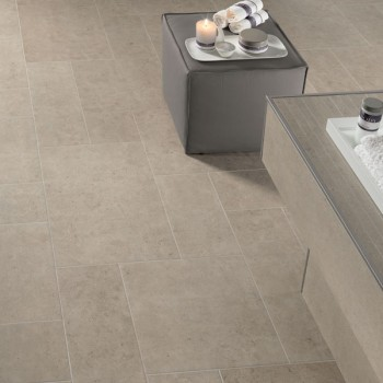 HDG Cedrone Porcelain Tile with Limestone Finish in Spa Application