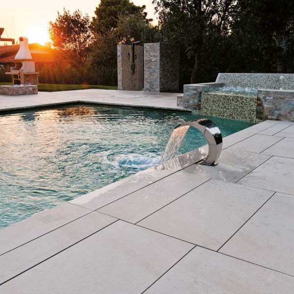 Pool Deck Surround with HDG Pavero Cream Porcelain Pavers - HDG Building Materials