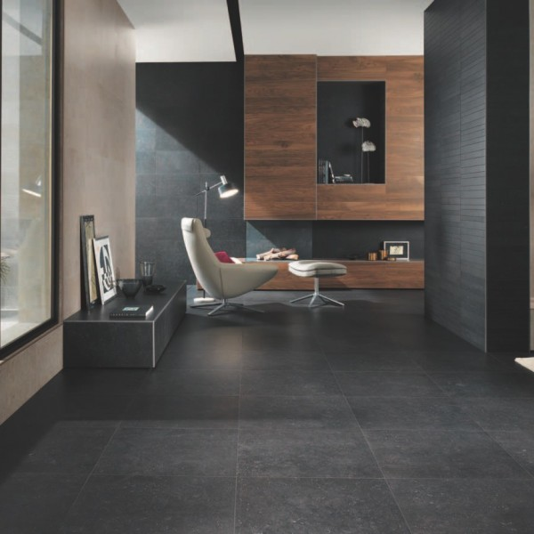 HDG Neros Porcelain Tile with Veining and Fossils - Black - HDG Building Materials