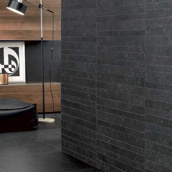 HDG Neros Porcelain Tile - Black Limestone with Veining and Fossils