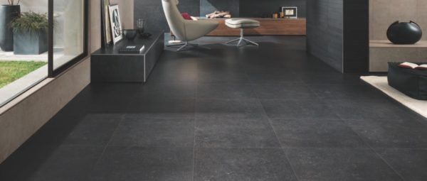 HDG Neros Porcelain Tile with Veining and Fossils - Seastone Black - HDG Building Materials