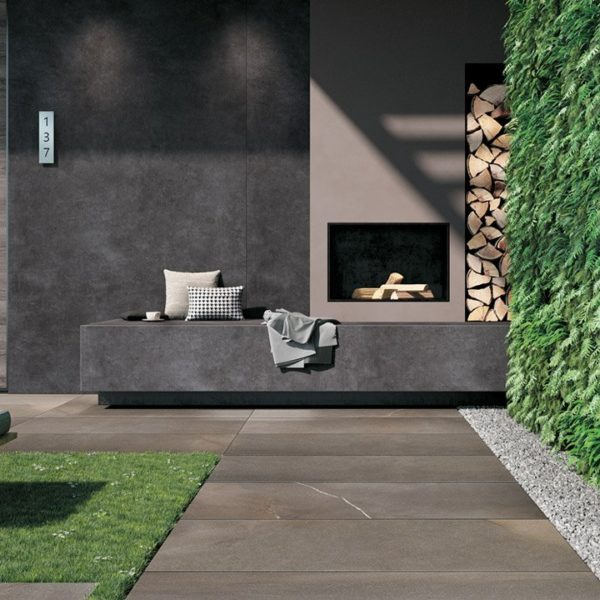 HDG Pietra Pavero Brown Porcelain Pavers in Backyard Oasis - HDG Building Materials