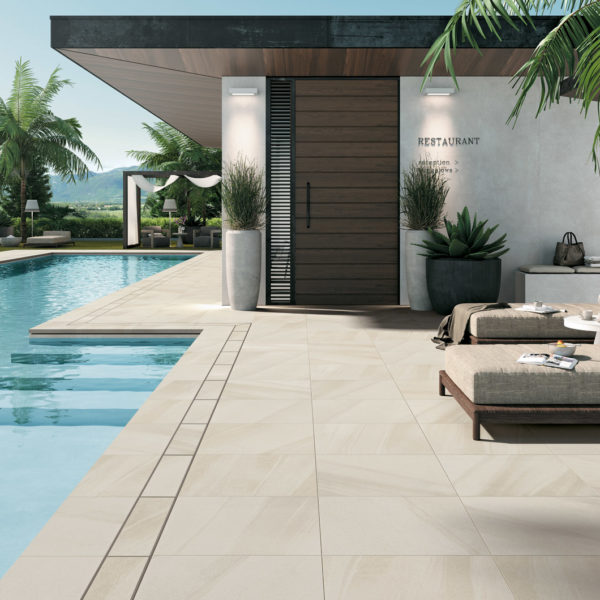 HDG Pietra Pavero Cream Porcelain Pavers EP04 Poolside Restaurant - HDG Building Materials
