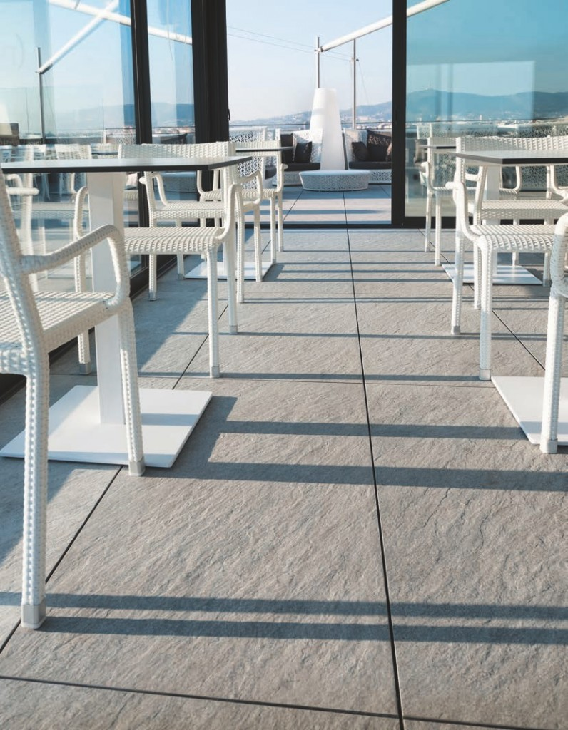 rooftop decking application with Buzon Pedestals and Porcelain Pavers - HDG Building Materials