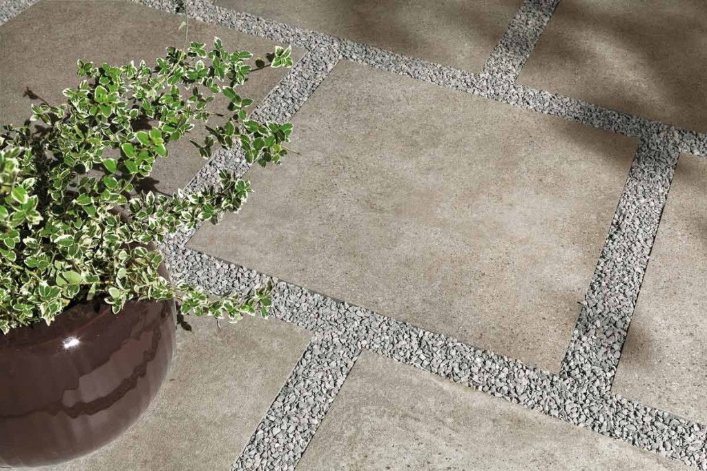 HDG Urban Way Tan Stone Finish Porcelain Paver 60x60 cm Laid on Gravel