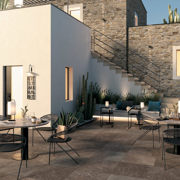 Outdoor Courtyard with HDG Pietra Pavero Plum EP07 Structural Porcelain Pavers - HDG Building Materials