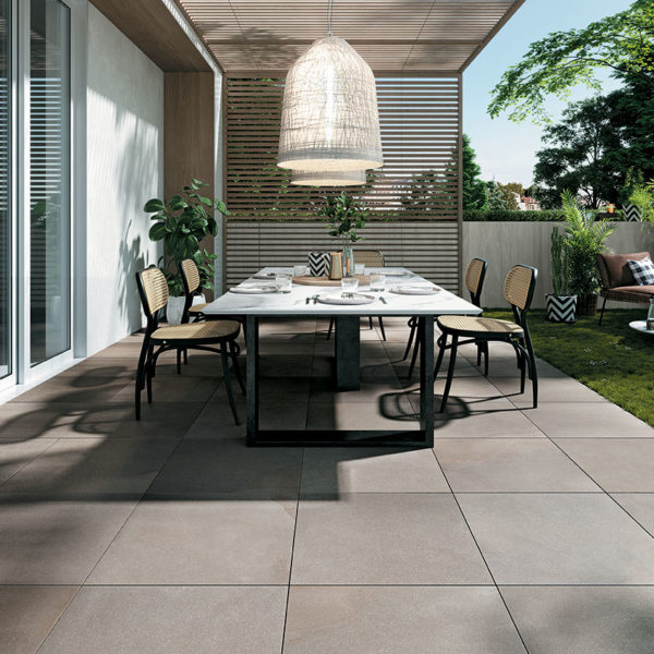 Outdoor Terrace Deck with HDG Pietra Pavero Ash - Stone-Look Flamed-Finish Porcelain Pavers EP05 60x60 - HDG Building Materials