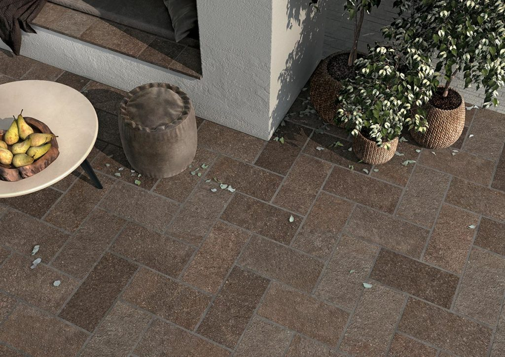 Outdoor Terrace with HDG Pietra Pavero Plum EP07 Structural Porcelain Paver - HDG Building Materials