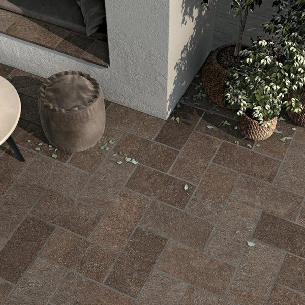 Outdoor Terrace with HDG Pietra Pavero Plum Structural Porcelain Paver - HDG Building Materials