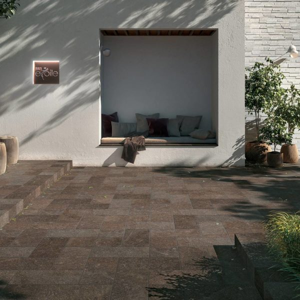 Restaurant Dining Floor with HDG Pietra Pavero Plum EP07 Structural Porcelain Pavers - HDG Building Materials