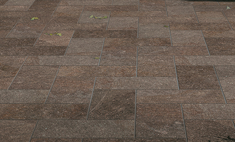 Restaurant Outdoor Dining with HDG Pietra Pavero Plum EP07 Structural Porcelain Pavers Detail - HDG Building Materials
