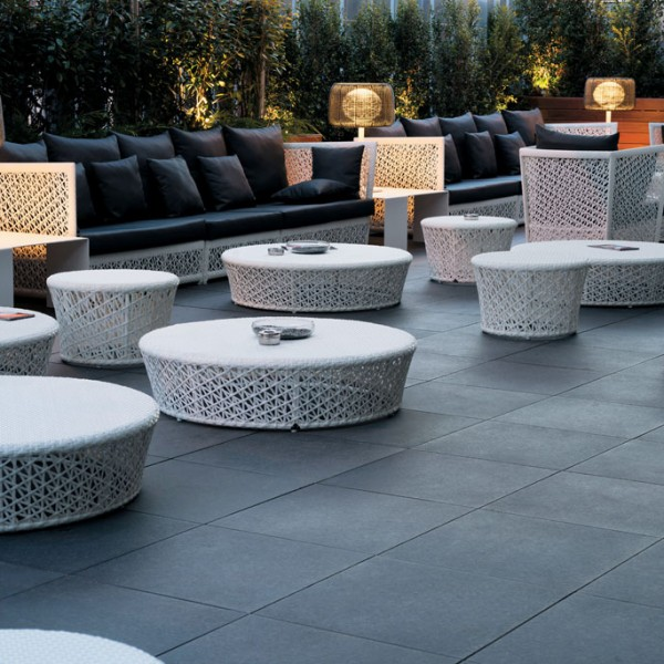 Outdoor Dining Terrace with HDG Berona Dark Brown Porcelain Paver - HDG Building Materials