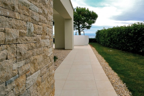 HDG Crema Sandstone - Flamed Stone Finish Porcelain Paver - HDG Building Materials