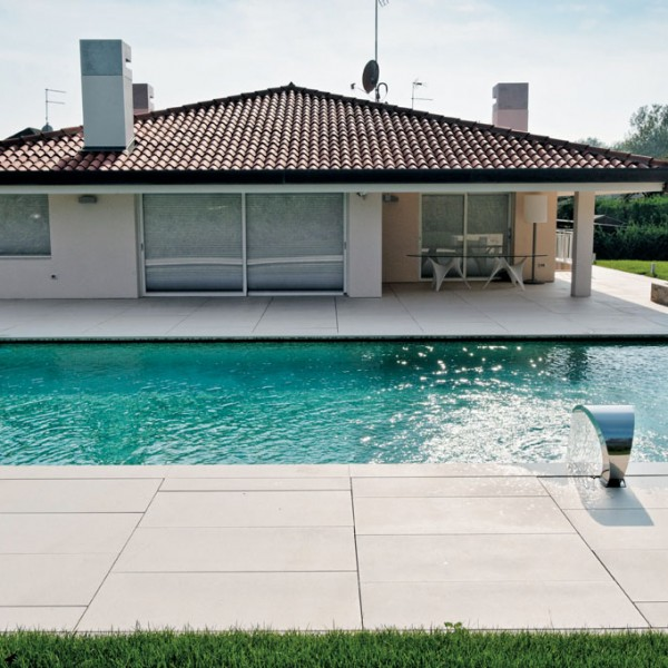 Pool Surround and Terrace with HDG Pavero Cream Porcelain Pavers - HDG Building Materials
