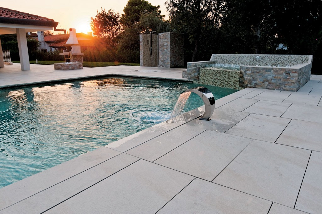 Pool Surround with HDG Pavero Cream Porcelain Pavers - HDG Building Materials
