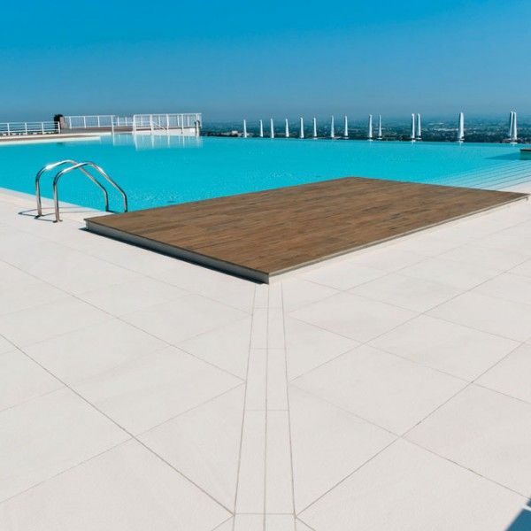 Decking Pool Surround with HDG Pavero Cream Porcelain Pavers - Sandstone Flamed Porcelain Paver - HDG Building Materials