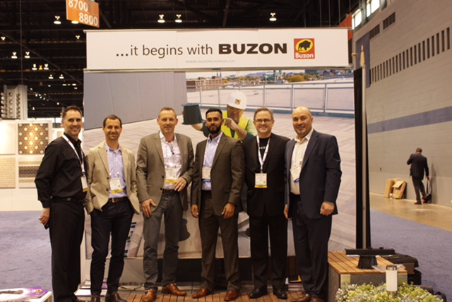Erik Nelson and Buzon Team at Buzon Pedestals Booth Coverings 2016