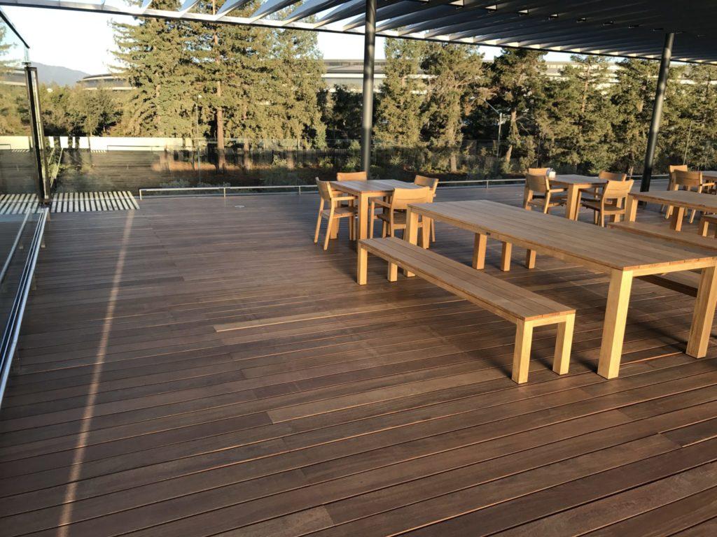 Buzon pedestals and Cumaru Board Decking in Apple Park Visitor Center