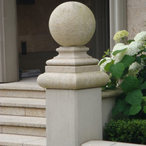 image of Natural Stone Shaped Pier Cap with Ball - HDG Building Materials