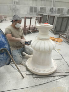 image of stone worker with pillar white sandstone marble fabrication export 807 x 1070