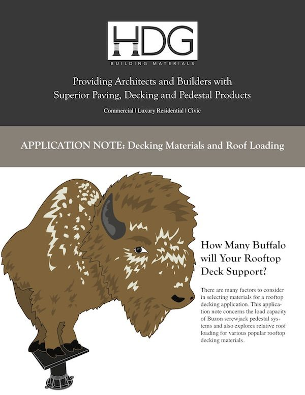 image of application note for Decking Materials and Roof Loading - Buzon Pedestal Systems - HDG Building Materials